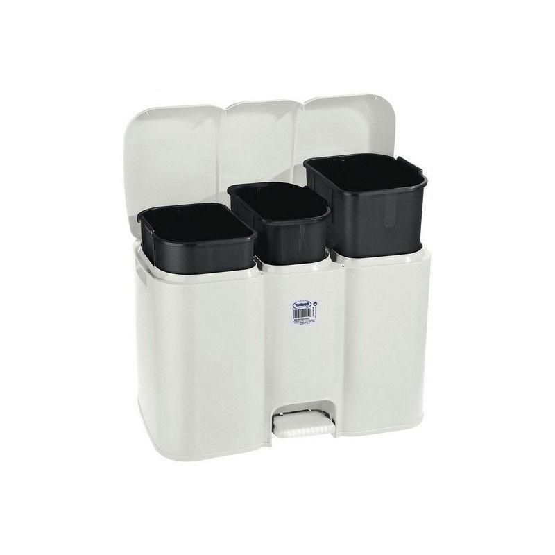 Mülleimer 3 Fach mit Fußpedal & Deckel 40 Liter / Mülltrenner Aufbewahrungsmöglichkeiten