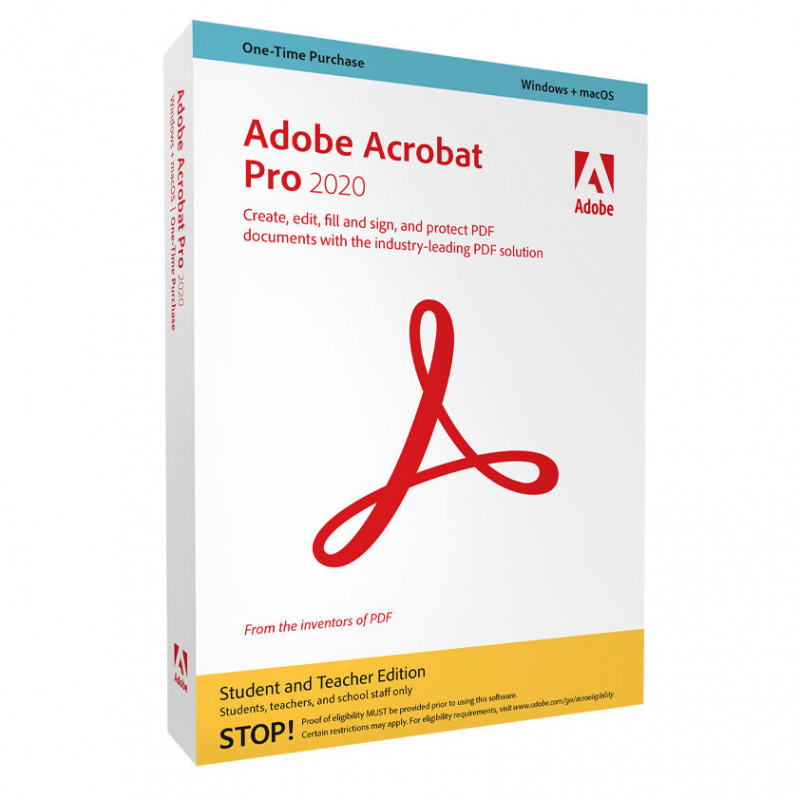 Adobe Acrobat Pro 2020 Student and Teacher Edition Window Software